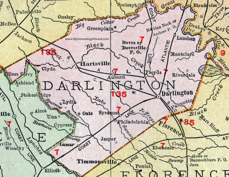 Darlington County South Carolina 1911 Map Rand McNally
