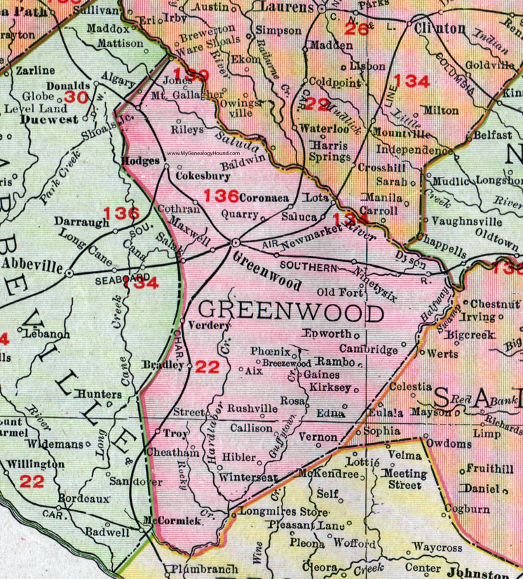 County South Carolina 1911 Map Rand McNally Greenwood City
