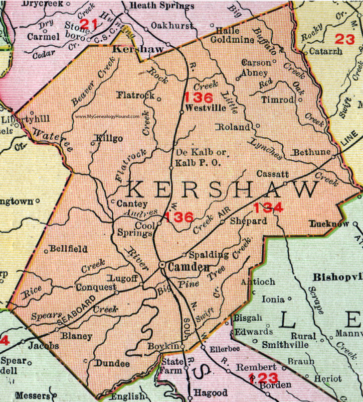 County South Carolina 1911 Map Rand McNally Camden Lugoff