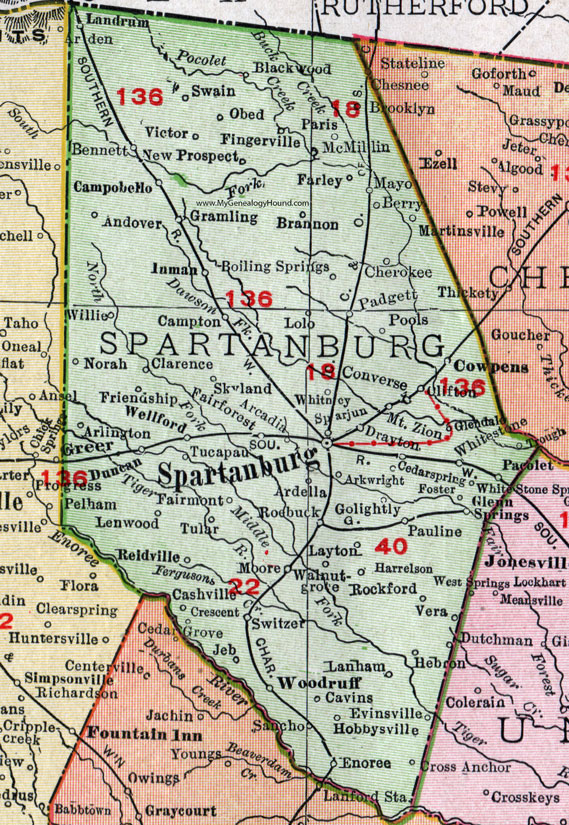 Spartanburg County South Carolina 1911 Map Rand Mcnally City Of