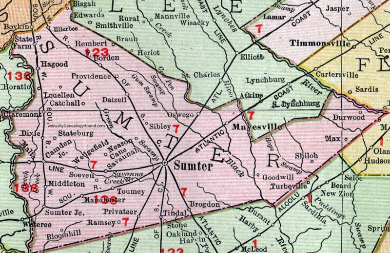 Sumter County South Carolina 1911 Map Rand Mcnally City Of