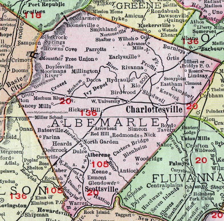 Albemarle County Virginia Map Rand McNally - County map of virginia
