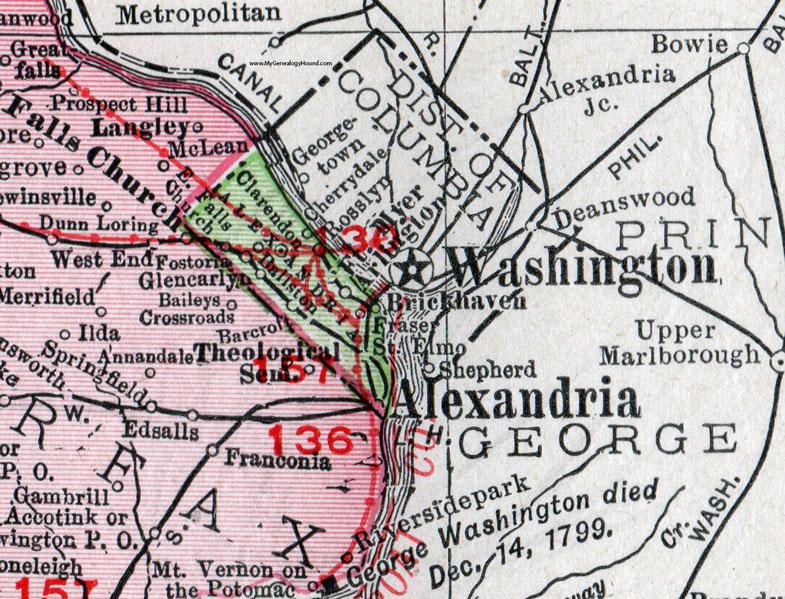Alexandria County Virginia Map 1911 Rand McNally Arlington