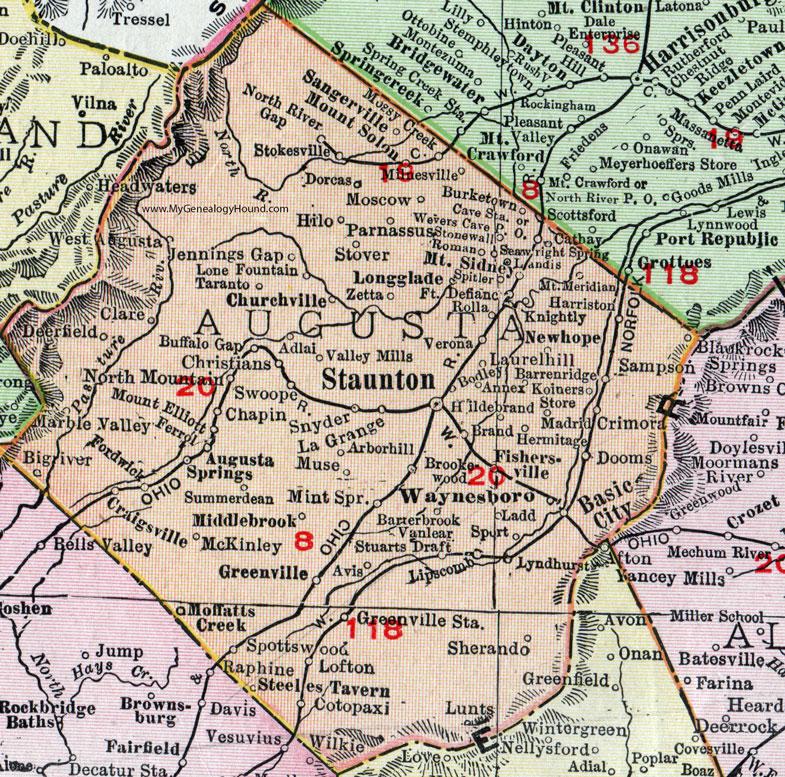 Augusta County, Virginia, Map, 1911, Rand McNally, Staunton ...