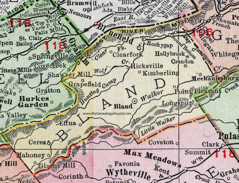 Bland County Virginia Map 1911 Rand McNally Mechanicsburg