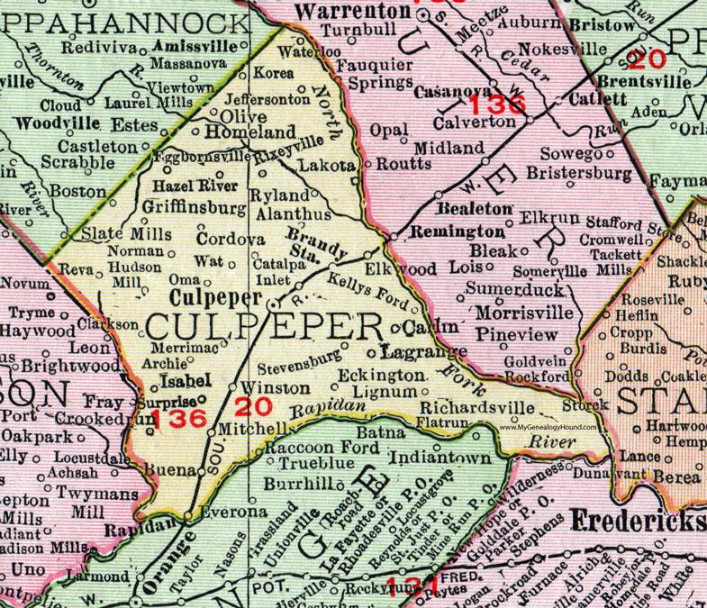 Culpeper County, Virginia, Map, 1911, Rand McNally, Brandy Station