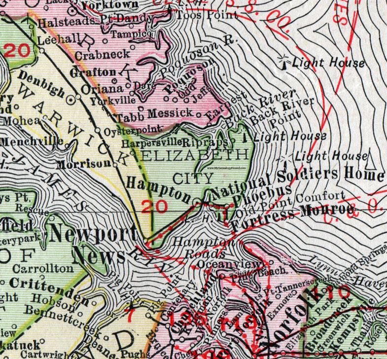 Elizabeth City County Virginia Map 1911 Rand McNally Hampton