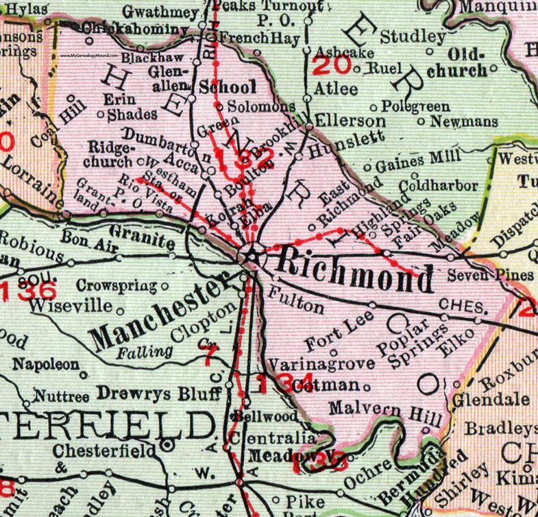 Henrico County Virginia Map 1911 Rand McNally Richmond