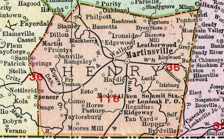 Henry County, Virginia, Map, 1911, Rand McNally, Martinsville