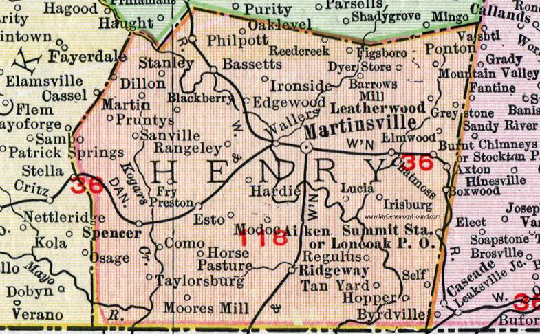 Ridgeway Colorado Map.Henry County Virginia Map 1911 Rand Mcnally Martinsville