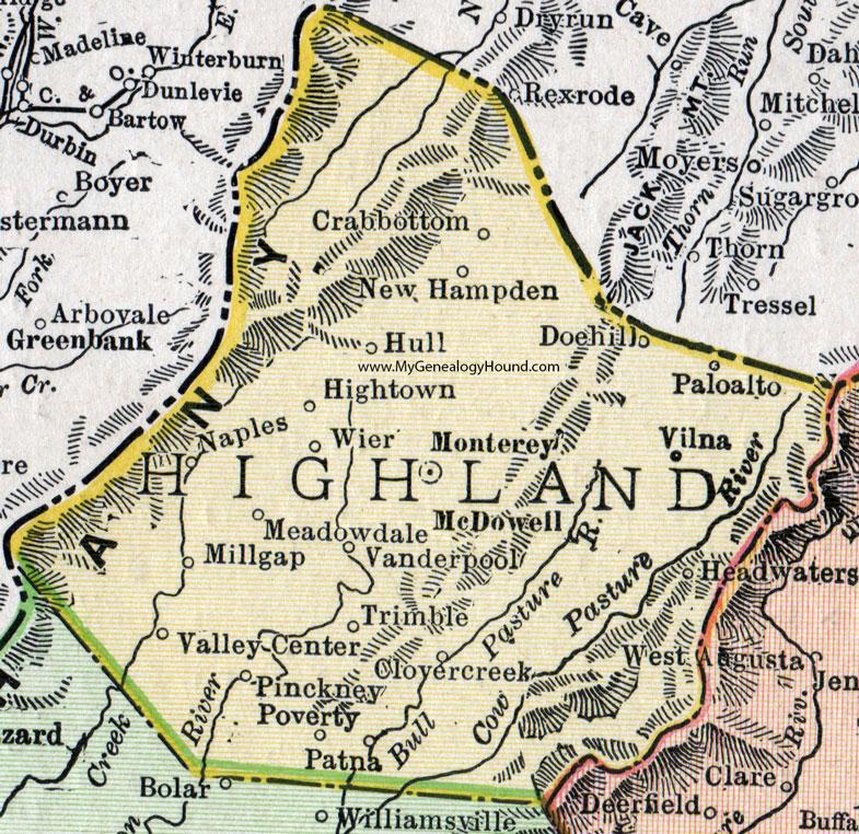 Highland County Virginia Map 1911 Rand McNally Monterey