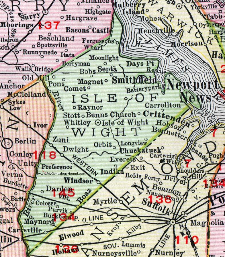 Isle Of Wight County Virginia Map Rand McNally Windsor - Windsor map