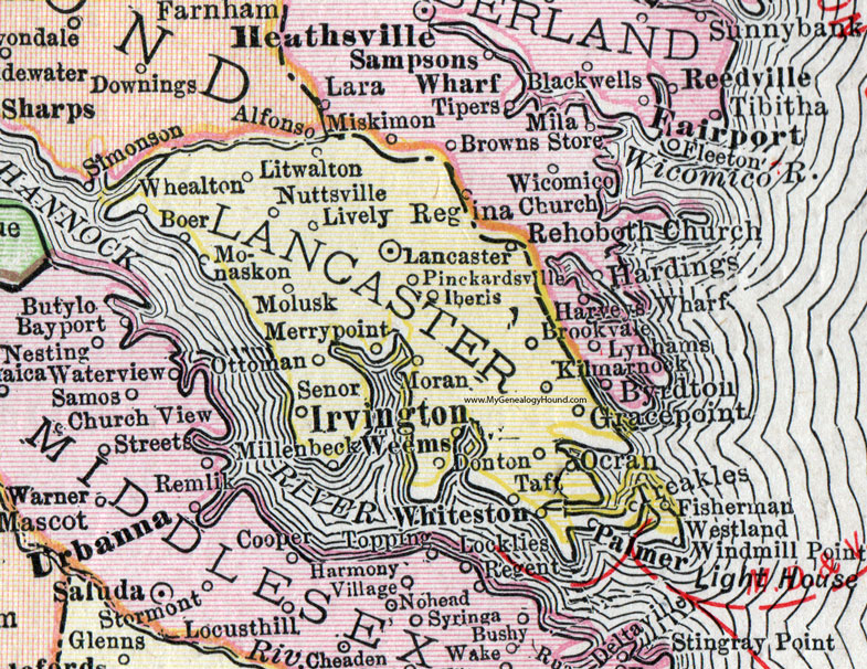 Lancaster County Virginia Map 1911 Rand McNally Irvington