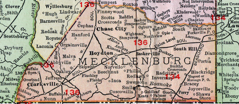 Mecklenburg County Virginia Map 1911 Rand McNally Boydton