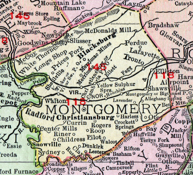 Montgomery County Virginia Map Rand McNally - Virginia county map
