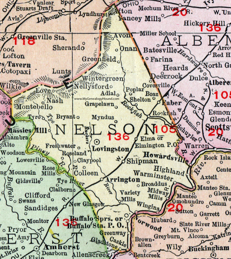Nelson County Virginia Map 1911 Rand McNally Lovingston