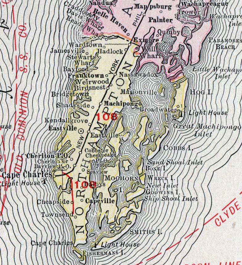 Northampton County, Virginia, Map, 1911, Rand McNally, Eastville ...