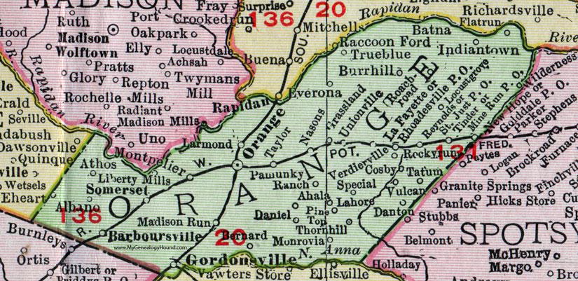 Orange County, Virginia, Map, 1911, Rand McNally, Gordonsville