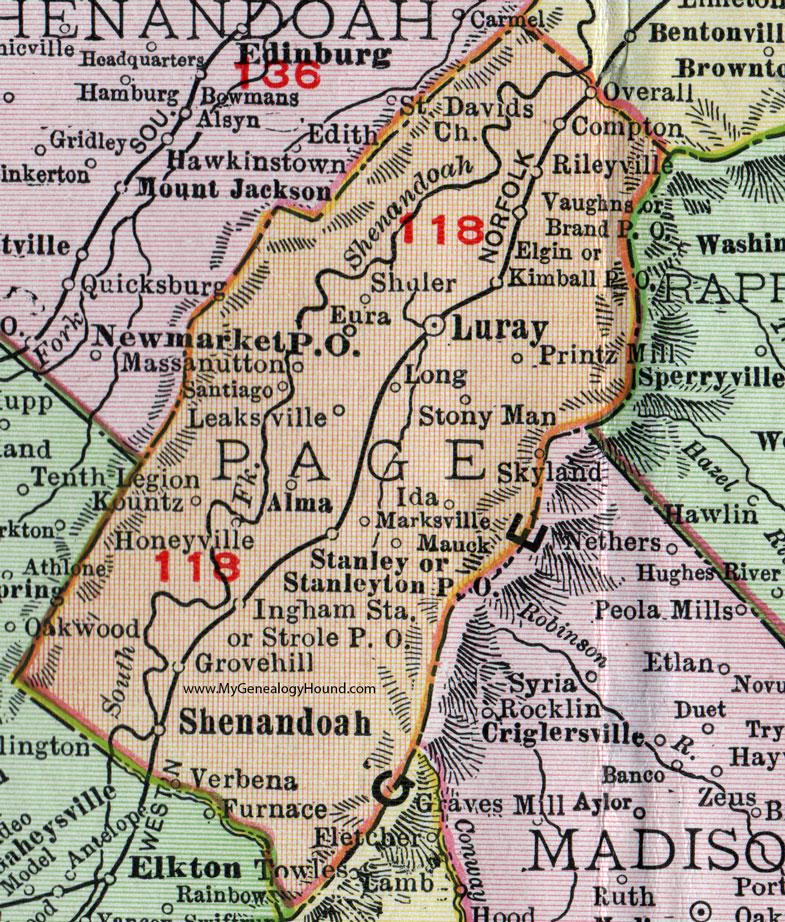 Page County Virginia Map 1911 Rand Mcnally Luray Shenandoah
