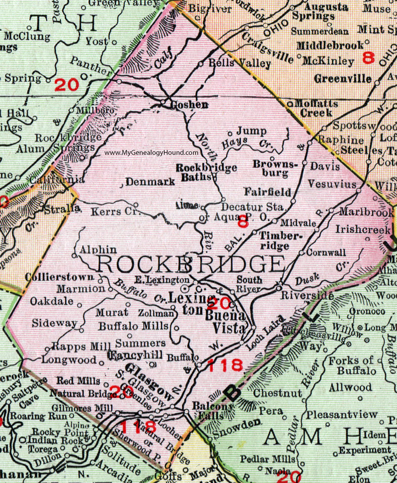 Rockbridge County Virginia Map Rand McNally Lexington - Vesuvius map