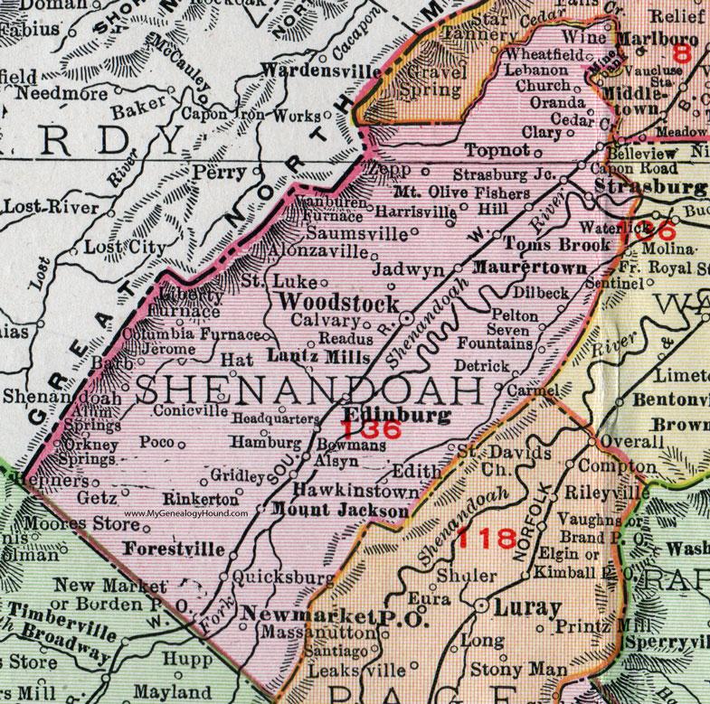 Shenandoah County Virginia Map 1911 Rand McNally Woodstock