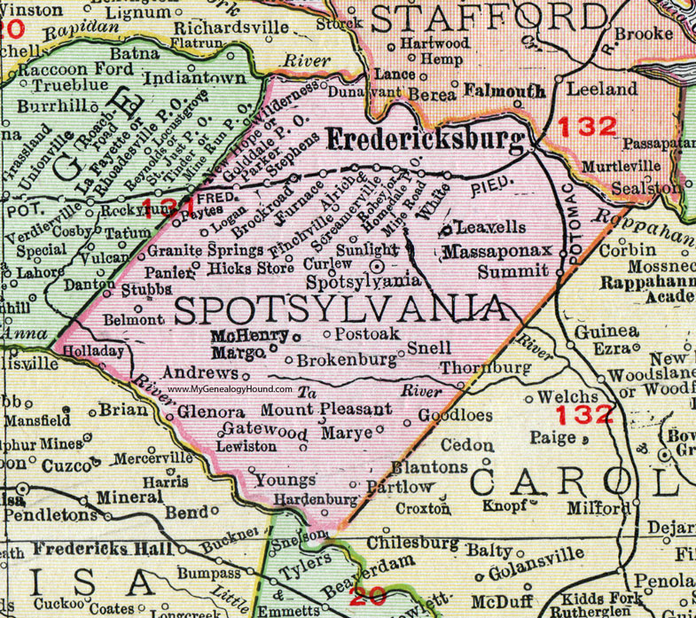 Fredericksburg Virginia Map.Spotsylvania County Virginia Map 1911 Rand Mcnally