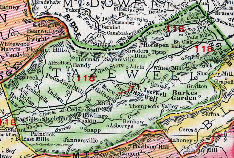 Tazewell County, Virginia, Map, 1911, Rand McNally, Graham, Burkes ...