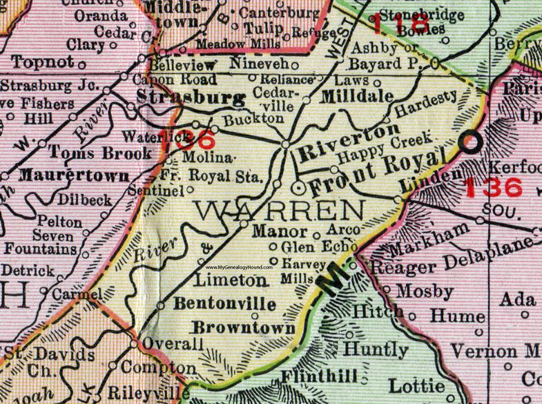 Warren County Virginia Map 1911 Rand Mcnally Front Royal