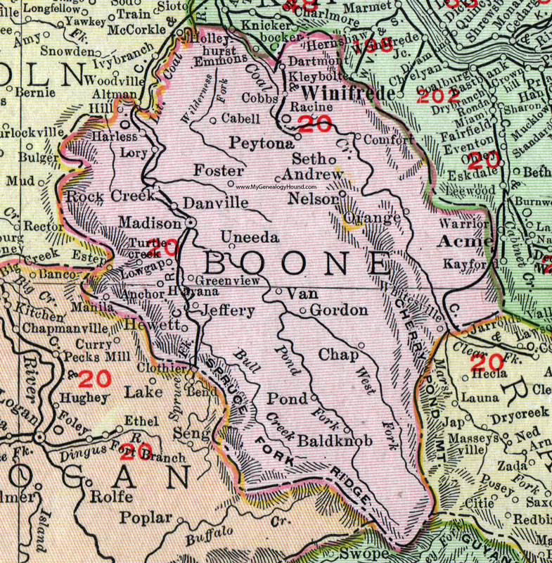 Boone County, West Virginia 1911 Map by Rand McNally, Madison ...