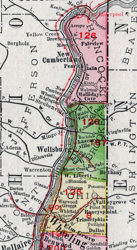 Brooke County West Virginia 1911 Map By Rand Mcnally Wellsburg