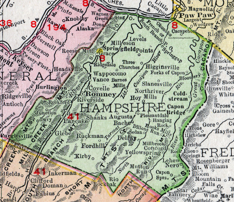 Hampshire County West Virginia 1911 Map by Rand McNally Romney