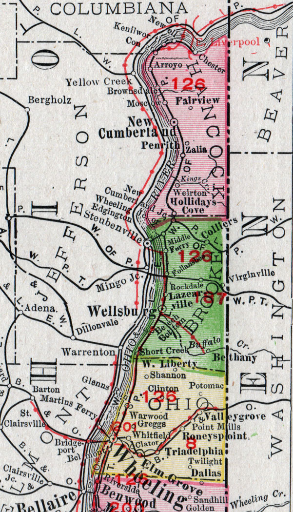 Hancock County West Virginia 1911 Map by Rand McNally New