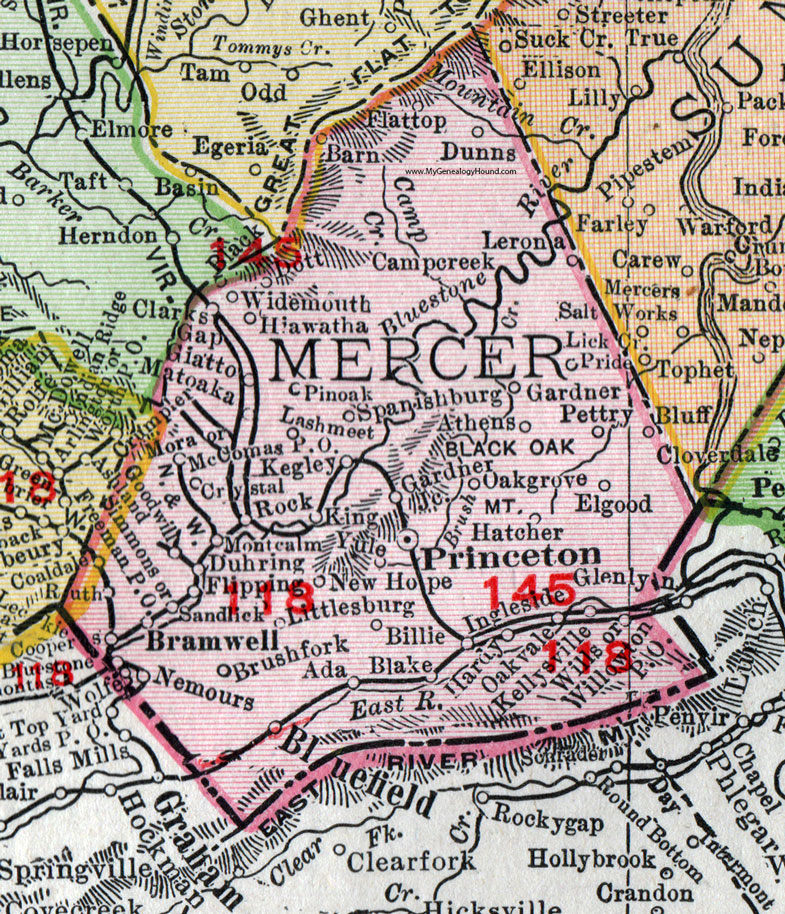 Mercer County West Virginia 1911 Map by Rand McNally Princeton