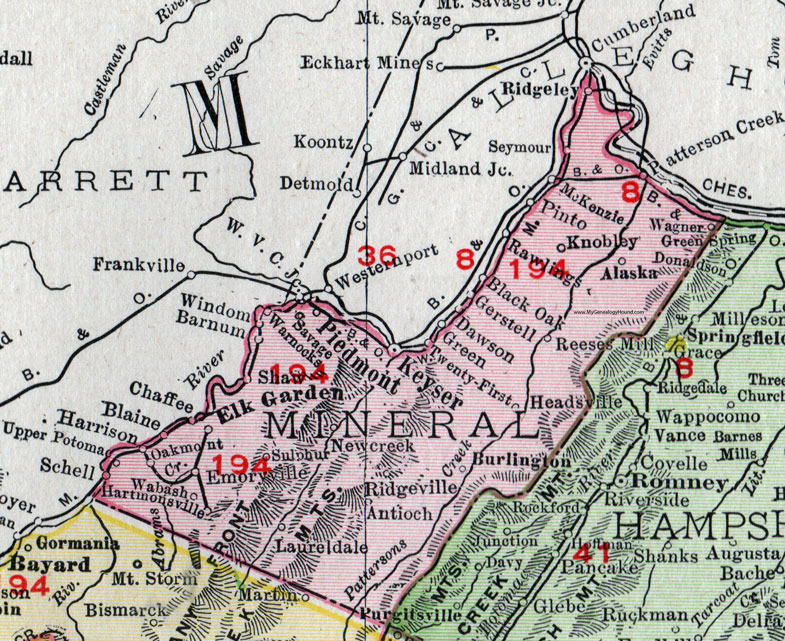 Mineral County West Virginia 1911 Map by Rand McNally Keyser