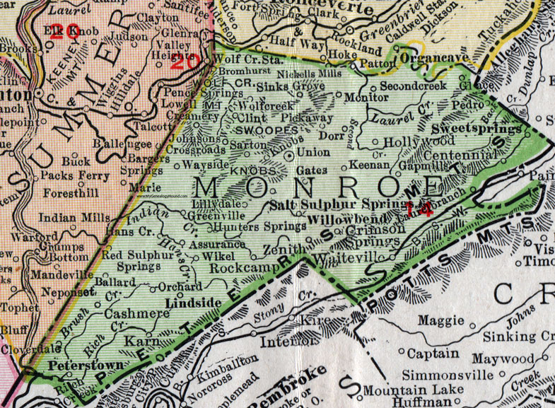 Monroe County West Virginia 1911 Map by Rand McNally Union