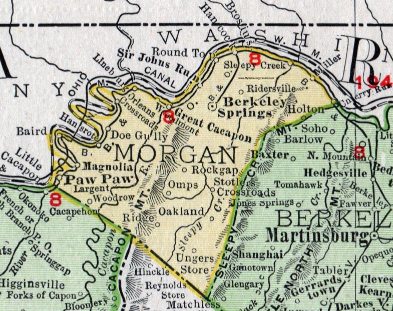 Morgan County West Virginia 1911 Map By Rand Mcnally Berkeley
