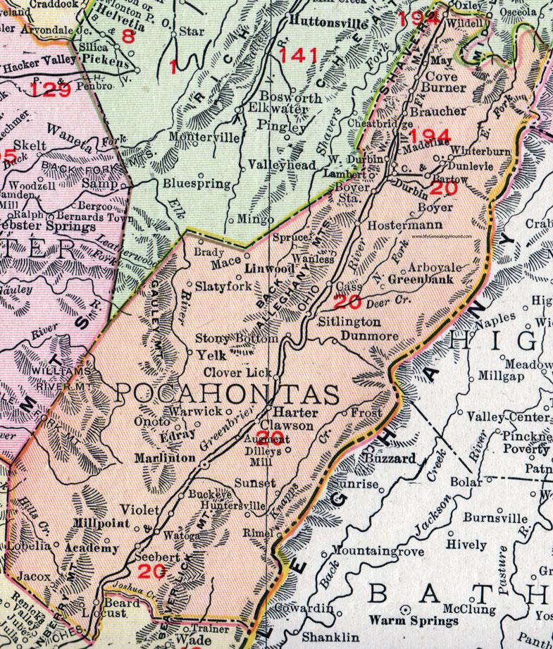 Pocahontas County West Virginia 1911 Map by Rand McNally Marlinton
