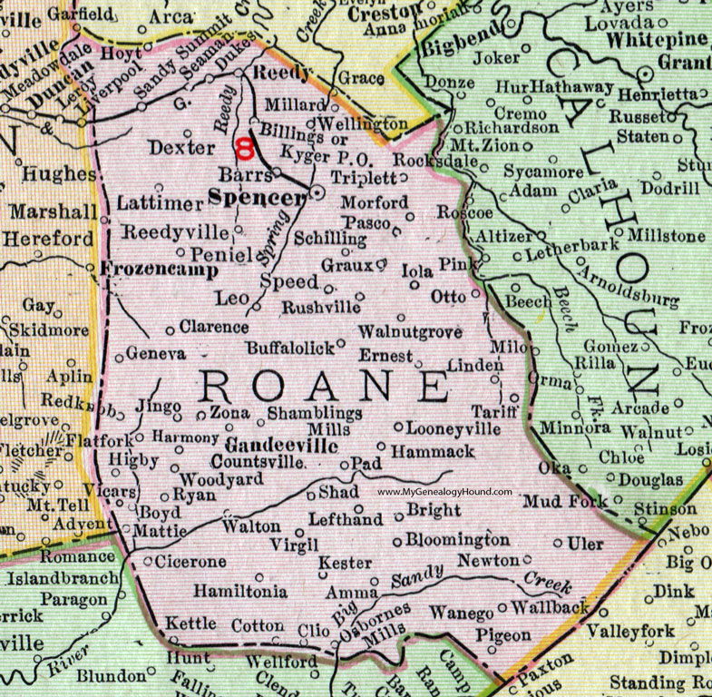 Roane County West Virginia Map By Rand McNally Spencer - Map wv