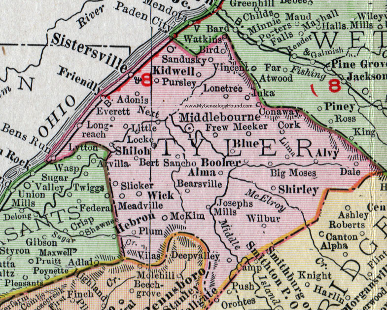 Tyler County West Virginia 1911 Map by Rand McNally Middlebourne