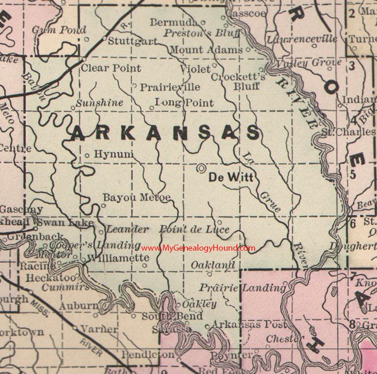 Arkansas County Arkansas 1889 Map