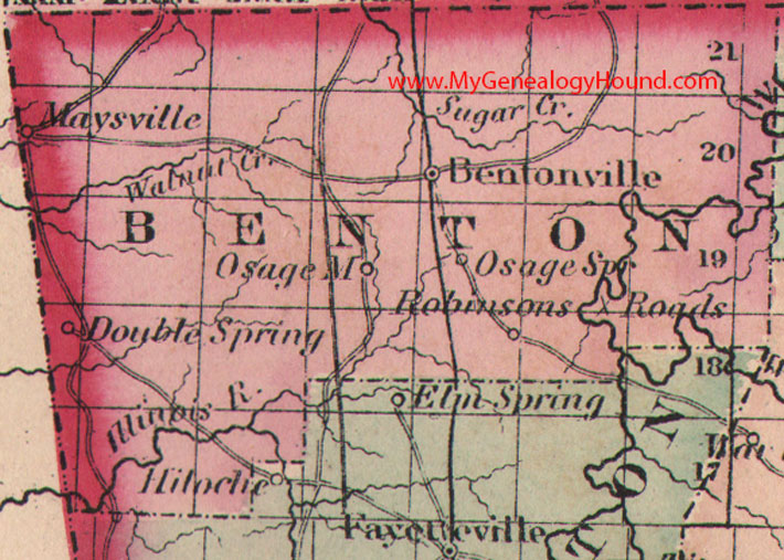 Benton County Arkansas 1875 Map