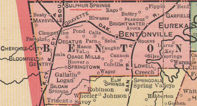 Benton County Arkansas 1898 Map