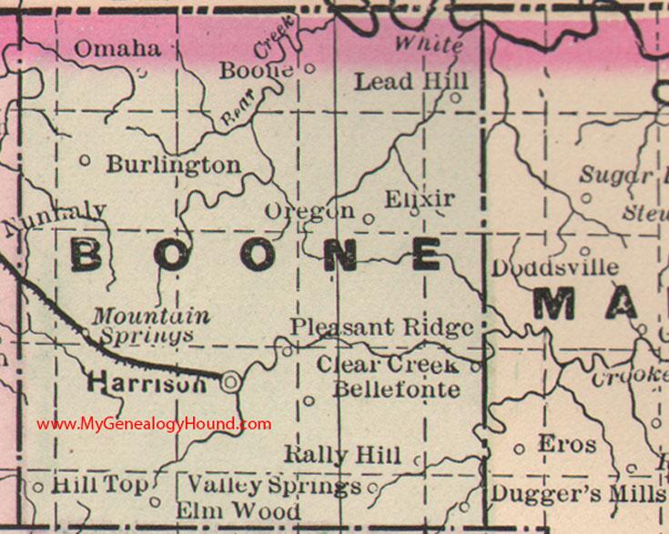 Boone County Arkansas Map.Boone County Arkansas 1889 Map