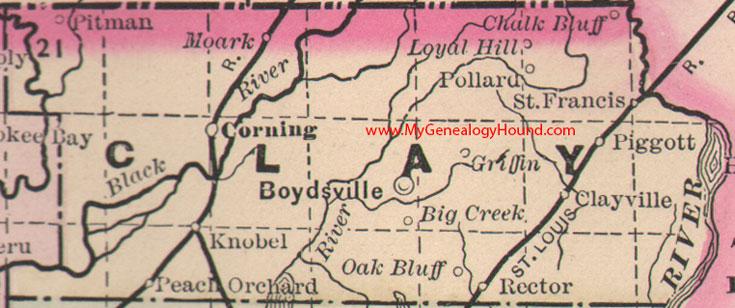 Clay County, Arkansas 1889 Map