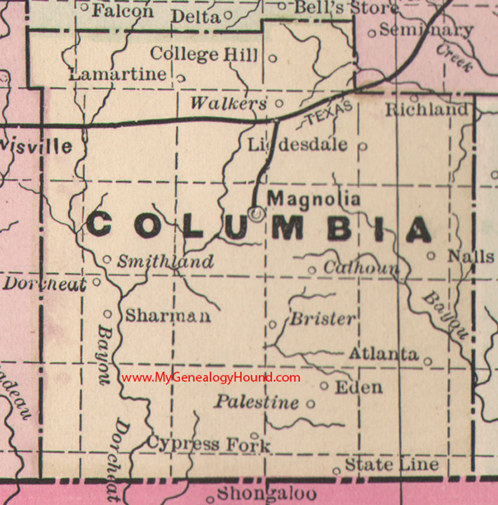 Columbia County Arkansas 1889 Map