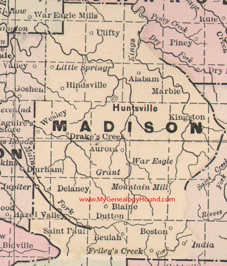 Madison County, Arkansas 1889 Map