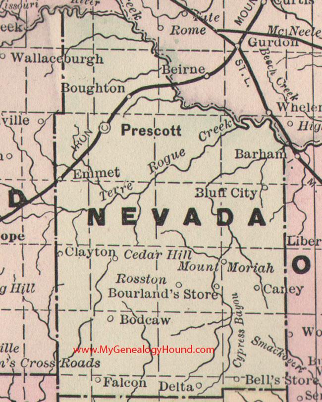 Nevada County Arkansas Map - Map of nevada county