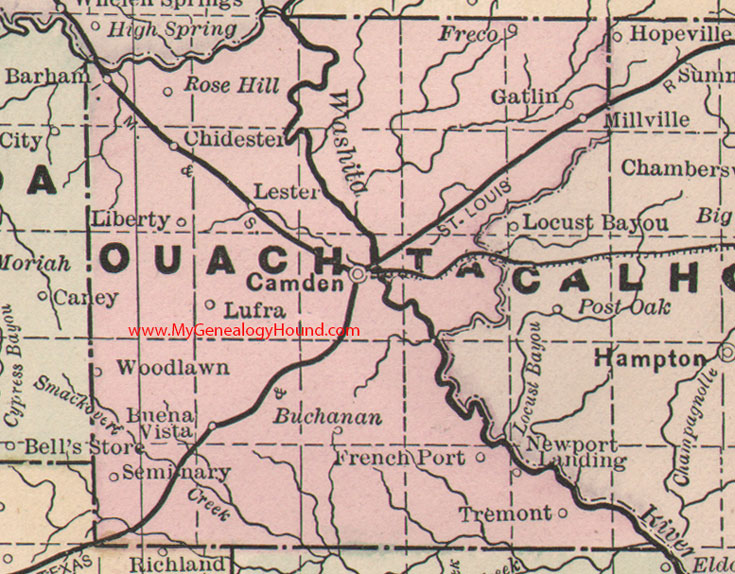 Ouachita County Arkansas 1889 Map