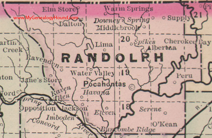 Randolph County, Arkansas 1889 Map