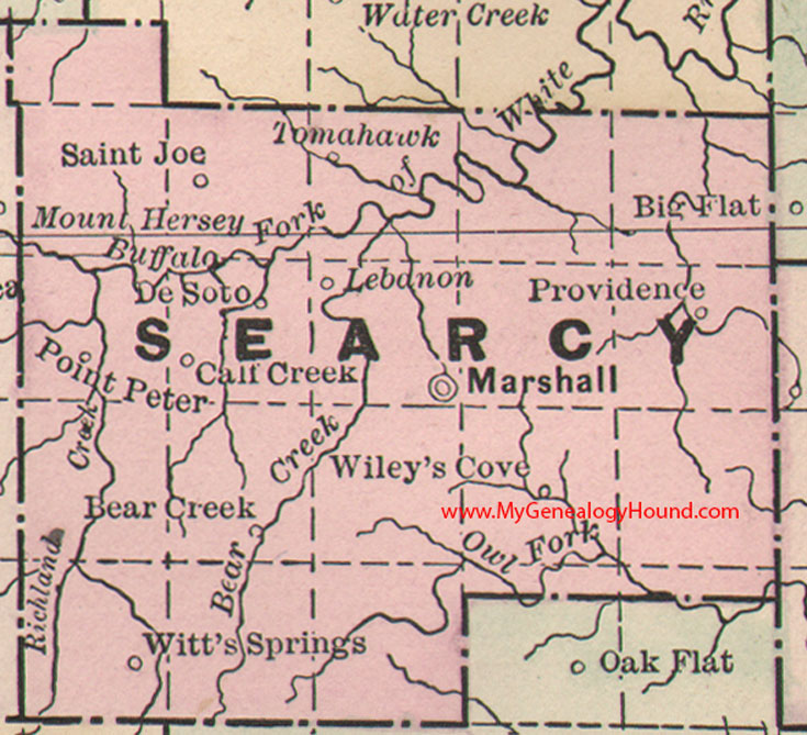 Searcy County, Arkansas 1889 Map